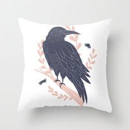 Good omen - forest raven Throw Pillow