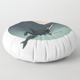 moonlight caravan // orcas Floor Pillow