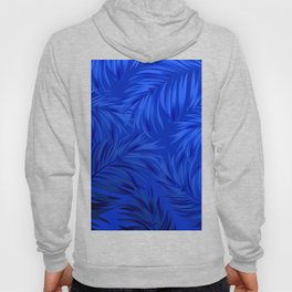 Palm Tree Fronds Brilliant Blue on Blue Hawaii Tropical Décor Hoody