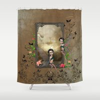 elf Shower Curtains featuring Cute elf by nicky2342