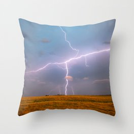 Electric Sky - Lightning Spans Entire Sky in Southern Oklahoma Throw Pillow