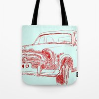 car Tote Bags featuring Car  by Kristoffer West Johnson