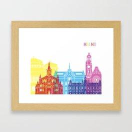 Malmo skyline pop Framed Art Print