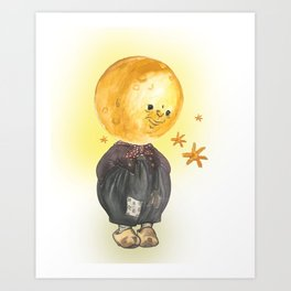 The Moon Man Contemplates the Stars Art Print