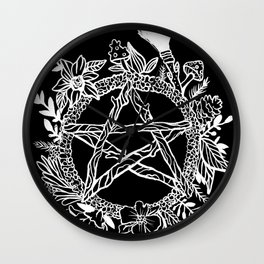 Pentacle Wreath Witchy Pagan Goth Wall Clock