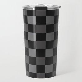 Black & Grey Checkered Plaid Squares Travel Mug