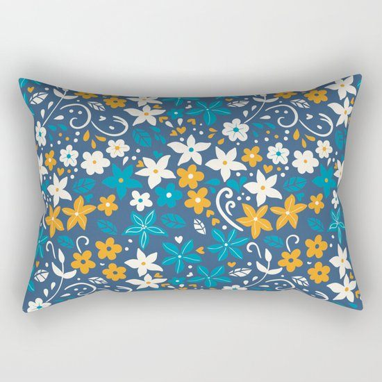 Floral pattern with doodles of flowers and leaves Rectangular Pillow