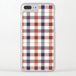 Plaid Red White And Blue Lumberjack Flannel Clear iPhone Case
