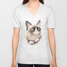 Grumpy Watercolor Cat Unisex V-Neck
