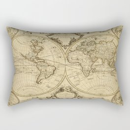 1720 Old World Map Historic Map Antique Style World Map Guillaume de L'Isle mappe monde Wall Map Rectangular Pillow