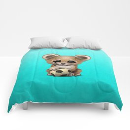 Lion Cub With Football Soccer Ball Comforters