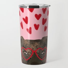 Pitbull head love hearts valentines day gifts for dog breed pibble lovers Travel Mug