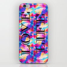LOVE LIFE Romantic Fine Art Typography Whimsical Sweet Abstract Acrylic Ikat Painting Pink Purple iPhone & iPod Skin