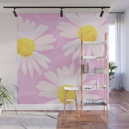 Flowers and dots on a pink background - lovely summery #decor #society6 #buyart Wall Mural
