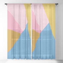 Cute Colorful Diagonal Color Blocking Sheer Curtain