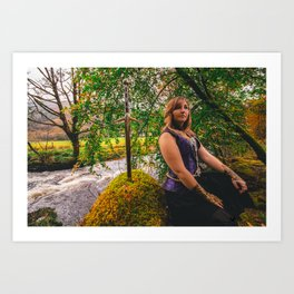 Sword, She & Stone Art Print