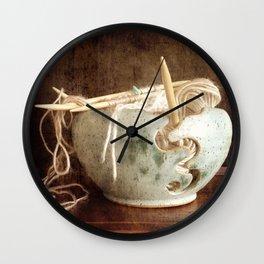 Knitting Bowl Wall Clock