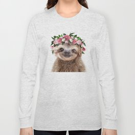 Baby Sloth With Flower Crown, Baby Animals Art Print By Synplus Long Sleeve T-shirt