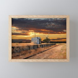 Sunset at the Coonawarra Rail Station Framed Mini Art Print