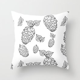 Hops pattern with leafs Throw Pillow