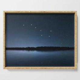 Big Dipper, Ursa Major star constellation, Night sky, Cluster of stars, Deep space Serving Tray