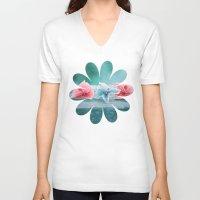 hydrangea V-neck T-shirts featuring HYDRANGEA LOVE by VIAINA