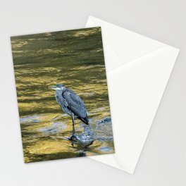Great Blue Heron on a Golden River Stationery Cards