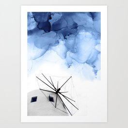 Blue Abstract Painting, Windmill Photography Art Print