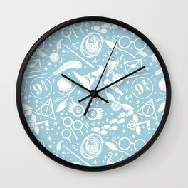 POTTER MAGICAL ITEMS WORLD IN BLUE PASTEL Wall Clock