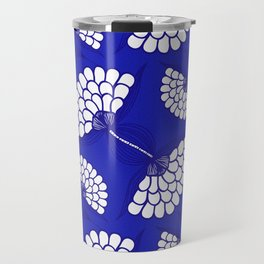 African Floral Motif on Royal Blue Travel Mug