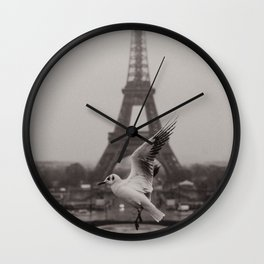 Seagull in front of Eiffel Tower Wall Clock