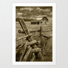 Sepia Toned Moulton Farm with Wood Fence in the Grand Teton National Park Art Print