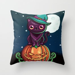 Ferociously Cute Halloween Vampire Witch Kitty Cat Throw Pillow