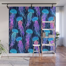 Luminescent Rainbow Jellyfish on Navy Blue Wall Mural