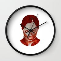 moulin rouge Wall Clocks featuring ROUGE by Jeremy Parigi
