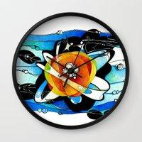 big bang Wall Clocks featuring Big Bang by Raluca Mitarca