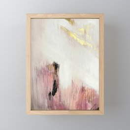Sunrise [2]: a bright, colorful abstract piece in pink, gold, black,and white Framed Mini Art Print