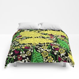 YELLOW & BLACK FLORAL FRIVOLITY FANTASY GARDEN Comforters