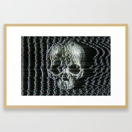 Analogue Glitch Jawless Skull Framed Art Print