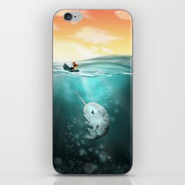 Narwhal meets Girl iPhone Skin