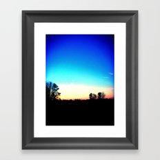 School Sunset Blue & Orange Framed Art Print
