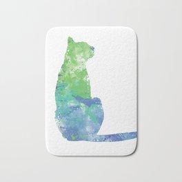 Sitting Cat Silhouette Design Bath Mat