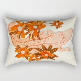 Alligator and Camellias Rectangular Pillow