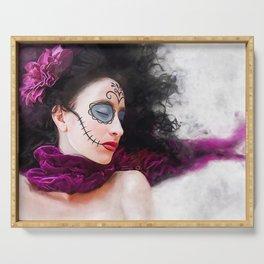Purple Dream Of The Dead - Dia De Los Muertos Sugar Skull Serving Tray