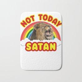 Funny Satan Roaring Lion Not Today Death Metal Rainbow Bath Mat