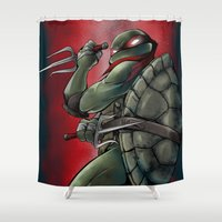 tmnt Shower Curtains featuring Raphael . TMNT by Moonsia