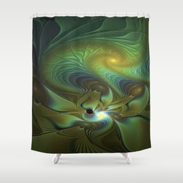 Mysterious, Abstract Fractals Art Shower Curtain
