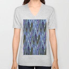 Zigzag Blue Unisex V-Neck