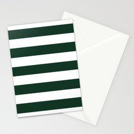 Phthalo green - solid color - white stripes pattern Stationery Cards