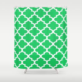 Arabesque Architecture Pattern In Zen Green Shower Curtain